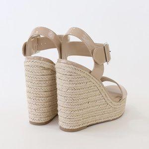 9afddba6737 Delicious Shoes - burst beige patent espadrille wedge sandal